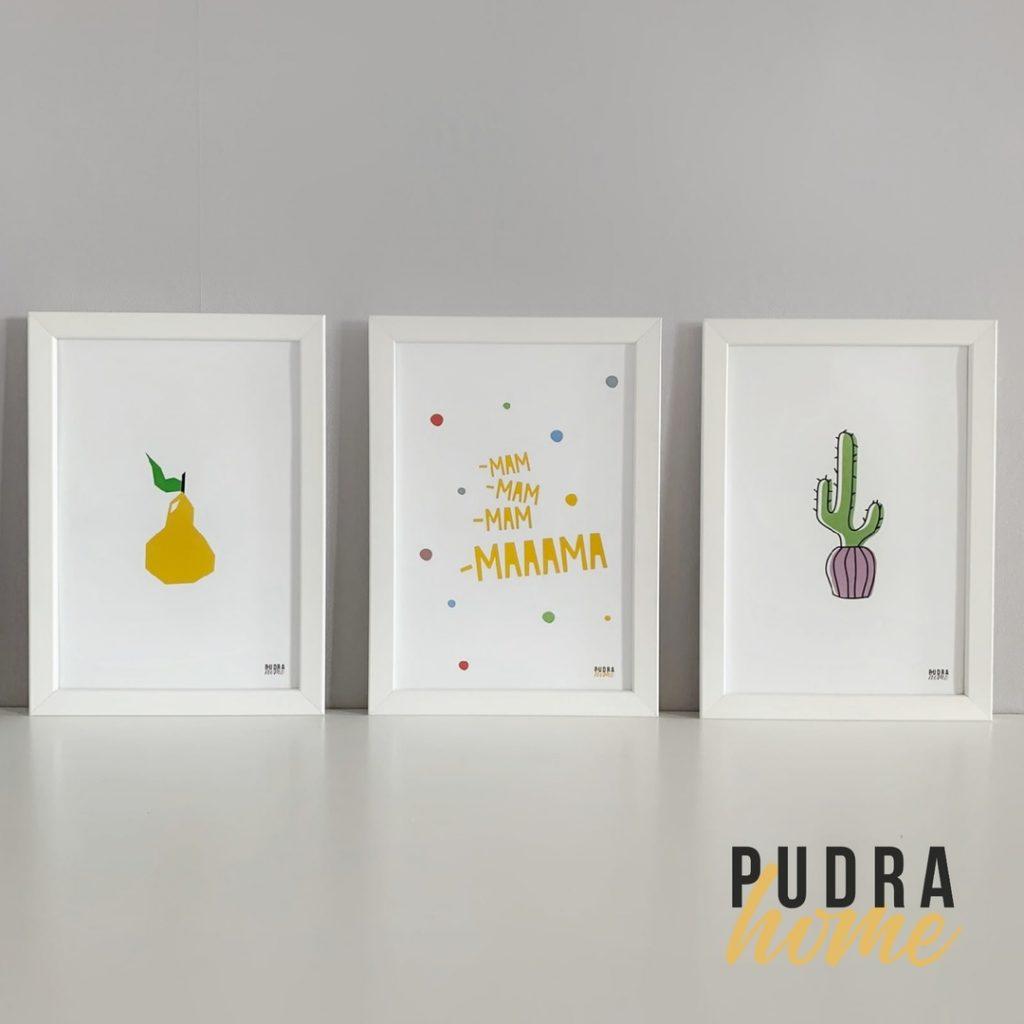 Набор из трех постеров в рамках ( Груша, Мама, Кактус )