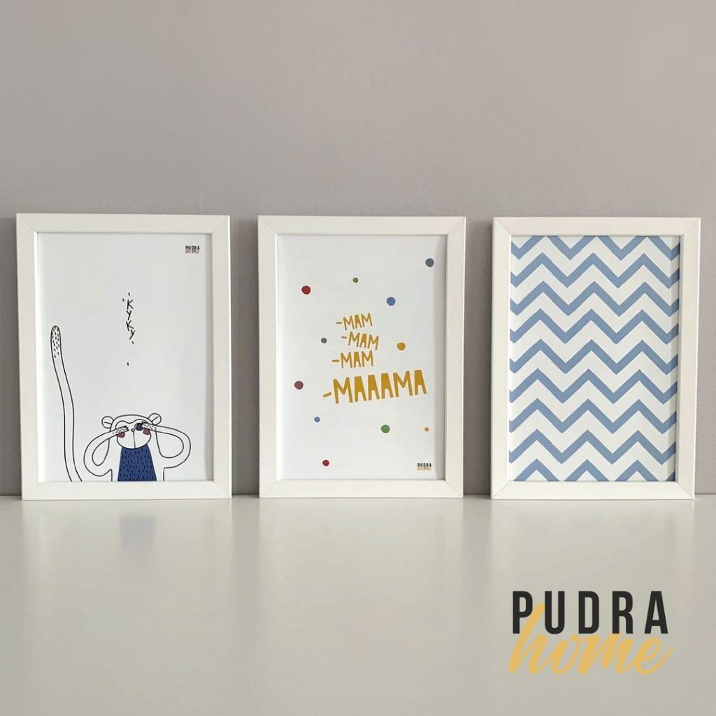 Набор из трех постеров в рамках (Обезьянка синяя, Мама, Геометрия)