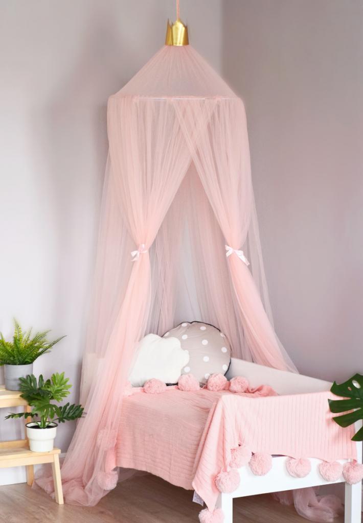Балдахин для детской кроватки из Фатина розовый