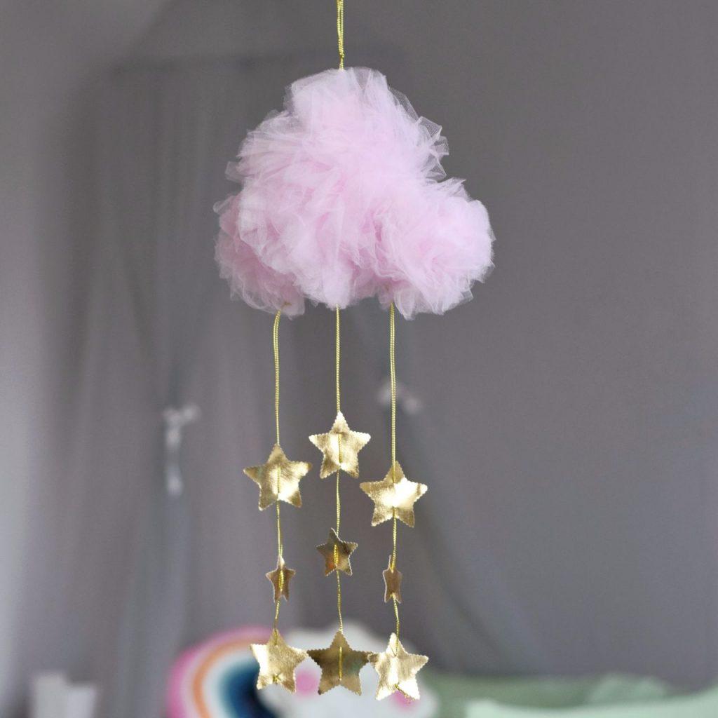 Подвес облачко розовое с золотыми звездами