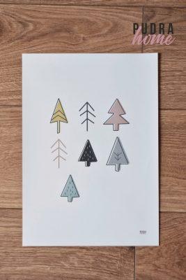 Постер Деревья Розовый (Холст)