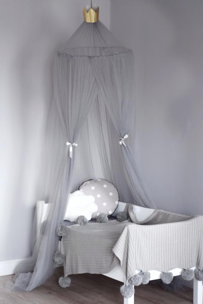 Балдахин для детской кроватки из Фатина Серый
